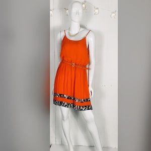 Leopard spaghetti strap Pleated dress L